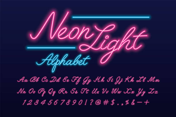 neon font - fonts and typography stock illustrations, clip art, cartoons, & icons
