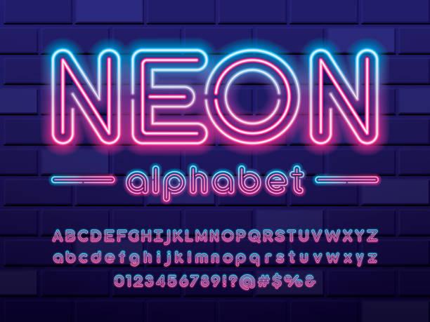 czcionka neonowa - neon stock illustrations