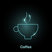 Glowing coffee cup light-blue neon icon on a black background Thin line