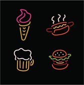 neon food icons scalable to any size.
