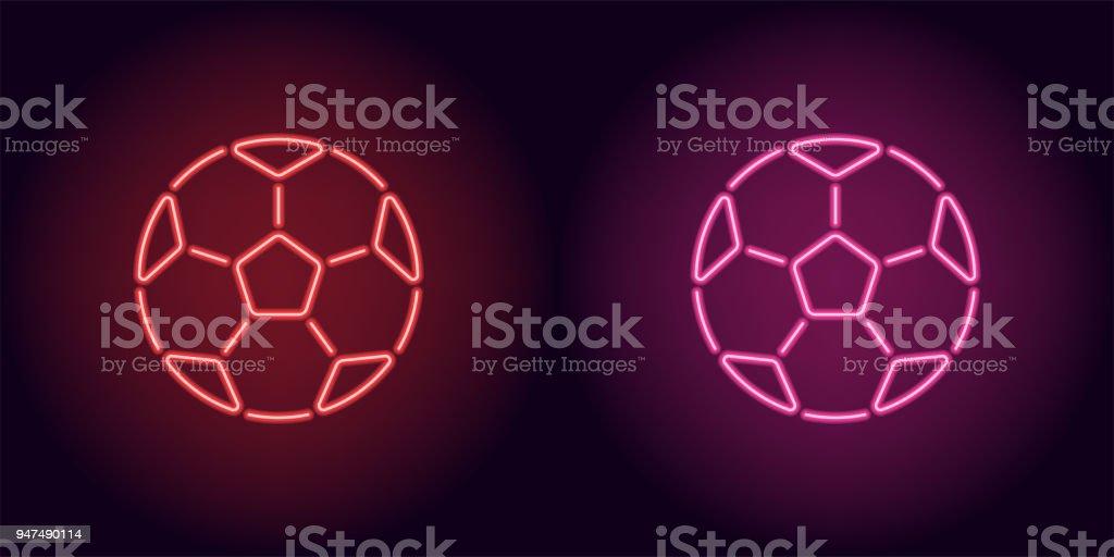 Bola de futebol de néon na cor vermelha e rosa - ilustração de arte em vetor