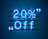 Neon frame 20 off text banner. Night Sign board. Vector illustration