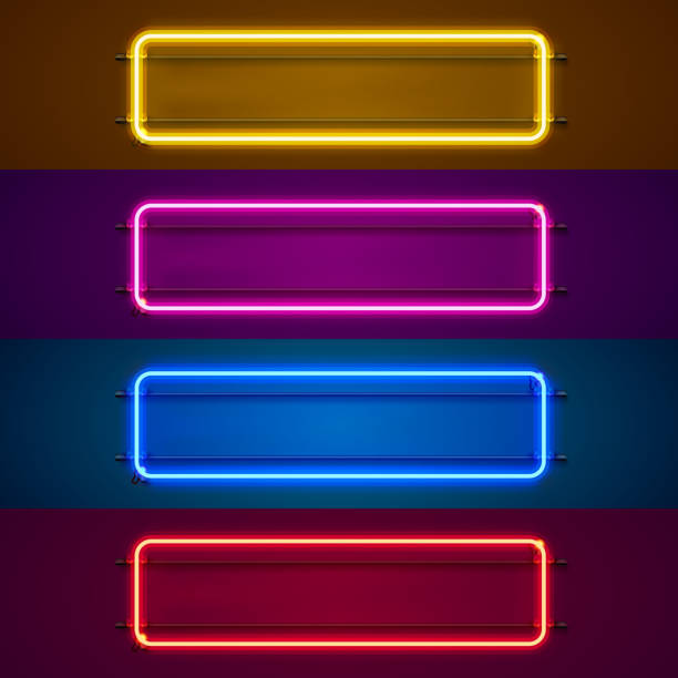 neon frame sign in the shape of a square. - transparent stock illustrations