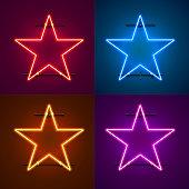 Neon frame sign in the shape of a star. Set color. template design element. Vector illustration