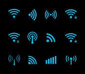 Neon futuristic vector wireless and wifi icon for remote access and communication via radio waves. Wireless logo. Set of indicators. Wi-fi logo. Remote icon. Bar element, internet load. Free wifi icon