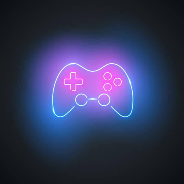 Neon gamepad. Glowing gamepad sign on black background. Colorful and bright gaming joystick symbol. vector art illustration