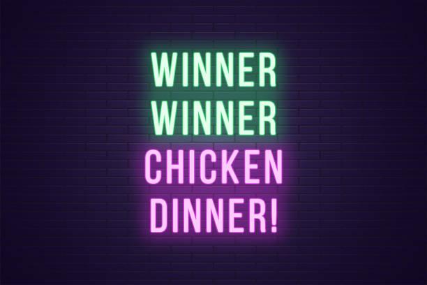 bildbanksillustrationer, clip art samt tecknat material och ikoner med neon gaming slogan, vinnare vinnare kyckling middag - wining