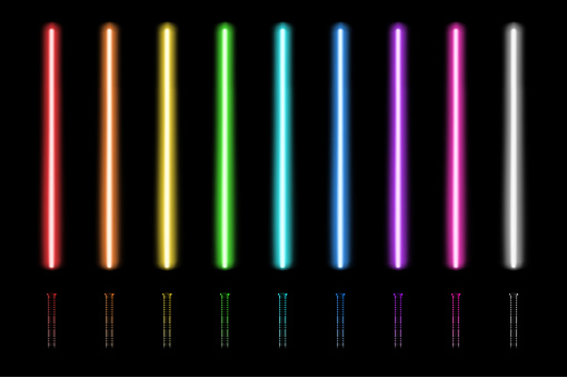 Neon glow sticks with a handles