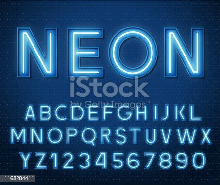 Neon glowing blue 3d letters and numbers on a dark background.