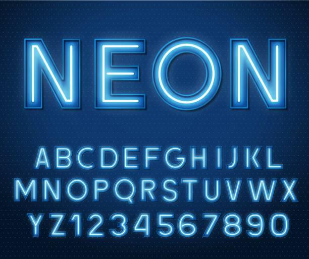 neon świecący na niebiesko litery i cyfry 3d. - neon stock illustrations