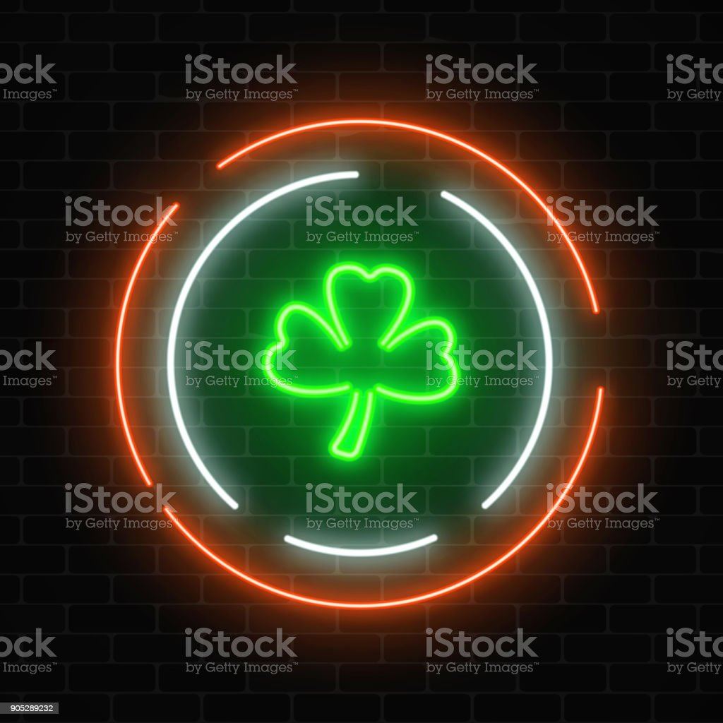 Neon glowing clover leaf sign. Green shamrock as Irish national holiday symbol in circle frames. vector art illustration