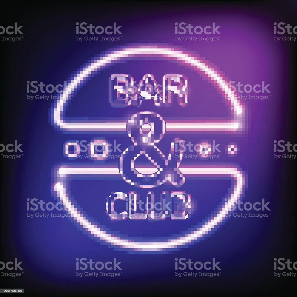 Ilustración de Neón Brillantes Bastidor Letrero De Bar Y Club ...