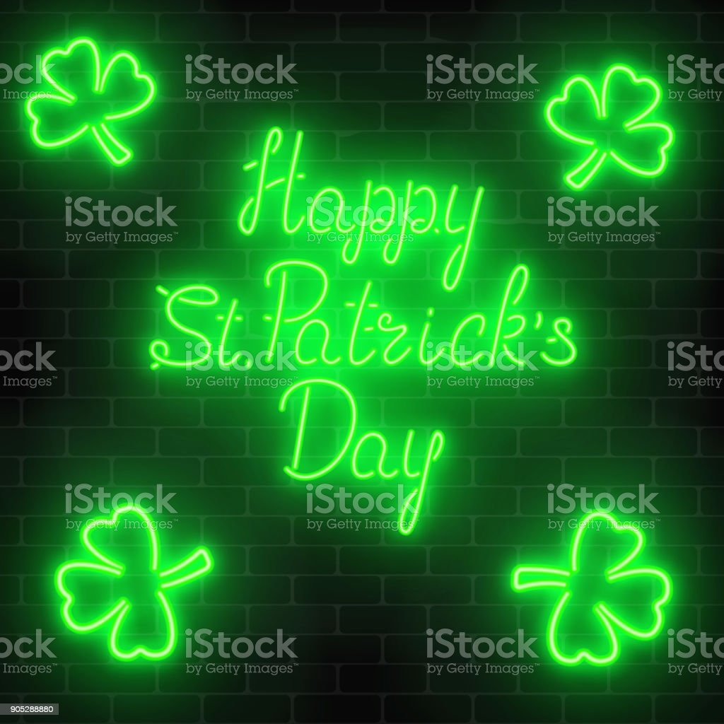 Neon glowing happy saint patricks day with clover leaves on a dark brick wall background. vector art illustration