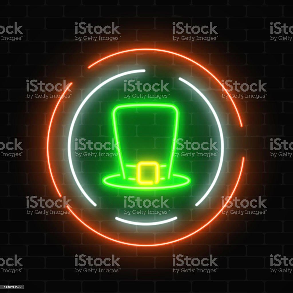Neon glowing leprechaun hat sign on a dark brick wall background. vector art illustration