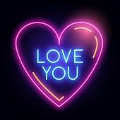 Neon Glowing Love Heart Light Sign