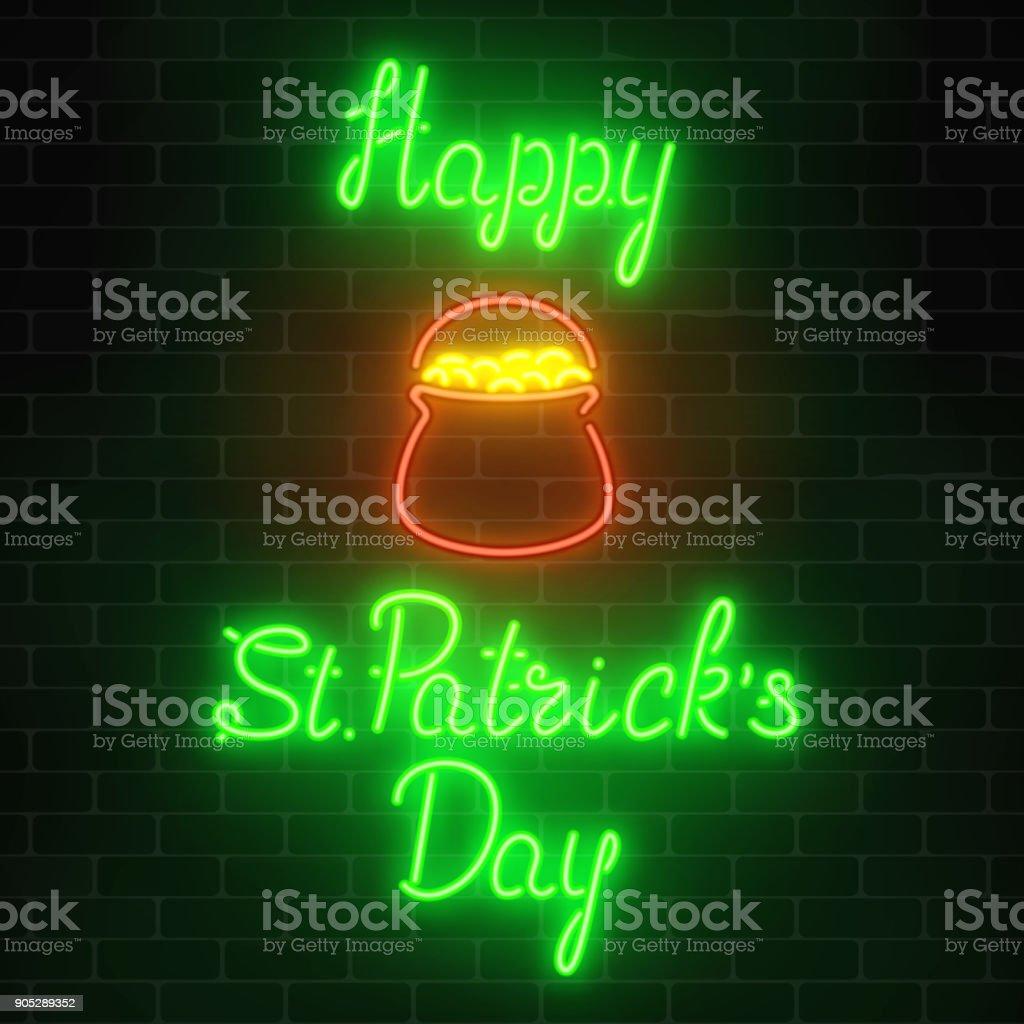 Neon glowing saint patricks day sign with pot of treasure on a brick wall background. National Irish holiday symbol. vector art illustration