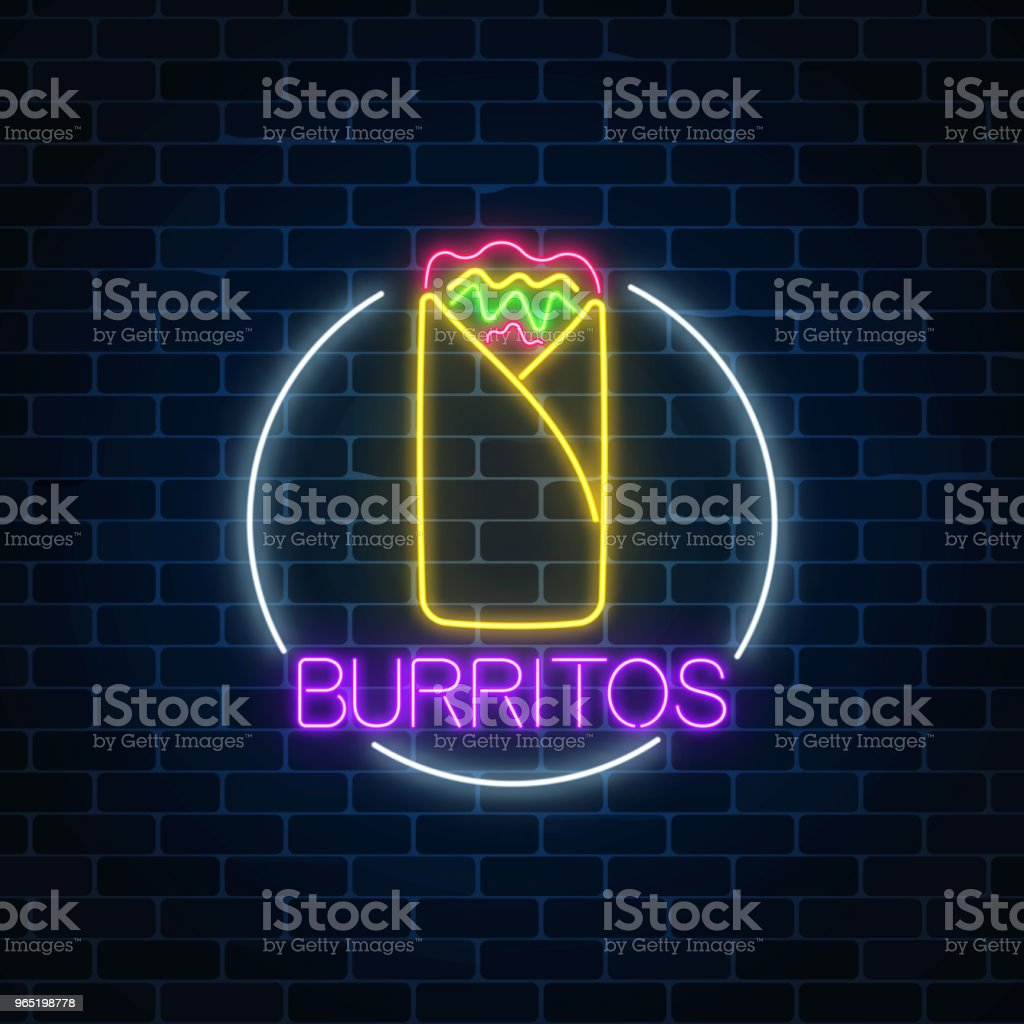 Neon glowing sign of burrito in circle frame. Fastfood light billboard symbol. Cafe menu item. royalty-free neon glowing sign of burrito in circle frame fastfood light billboard symbol cafe menu item stock illustration - download image now