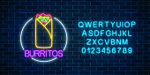 Neon glowing sign of burrito in circle frame with alphabet on a dark brick wall background. Fastfood light billboard symbol. Cafe menu item. Vector illustration.