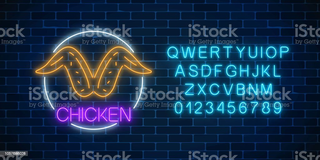 Neon glowing sign of chicken wings in circle frame with alphabet. Fastfood light billboard symbol. vector art illustration