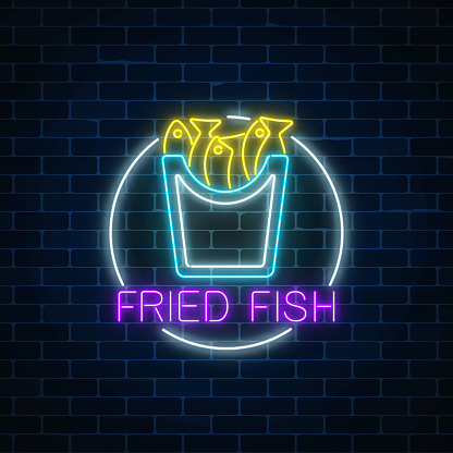 Neon Glowing Sign Of Fried Fish In Circle Frame On A Dark ... - photo#35