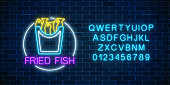 Neon glowing sign of fried fish in circle frame with alphabet on a dark brick wall background. Fastfood light billboard symbol. Cafe menu item. Vector illustration.