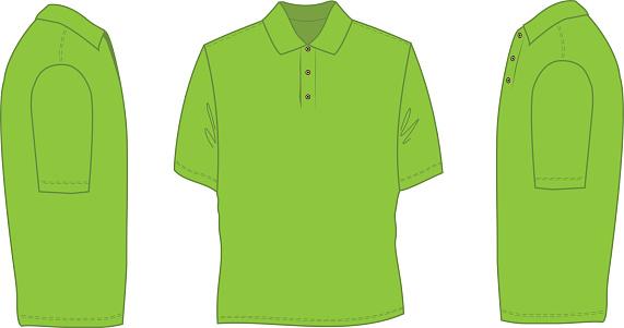 Neon green sketch of a polo shirt