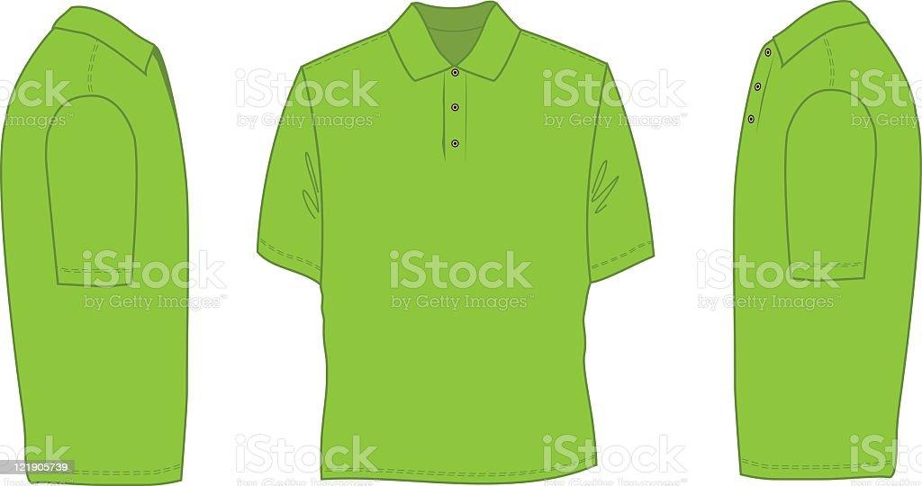 Neon green sketch of a polo shirt vector art illustration