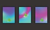 Glowing futuristic pattern, gradient cover, disco club invitation concept.