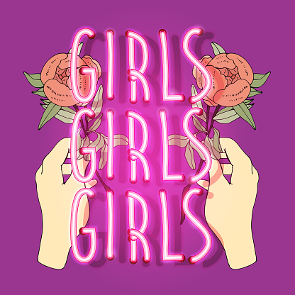 Neon Hand with roses. Girls slogan. Typography graphic print, fashion drawing for t-shirts. Vector stickers,print, patches retrowave style