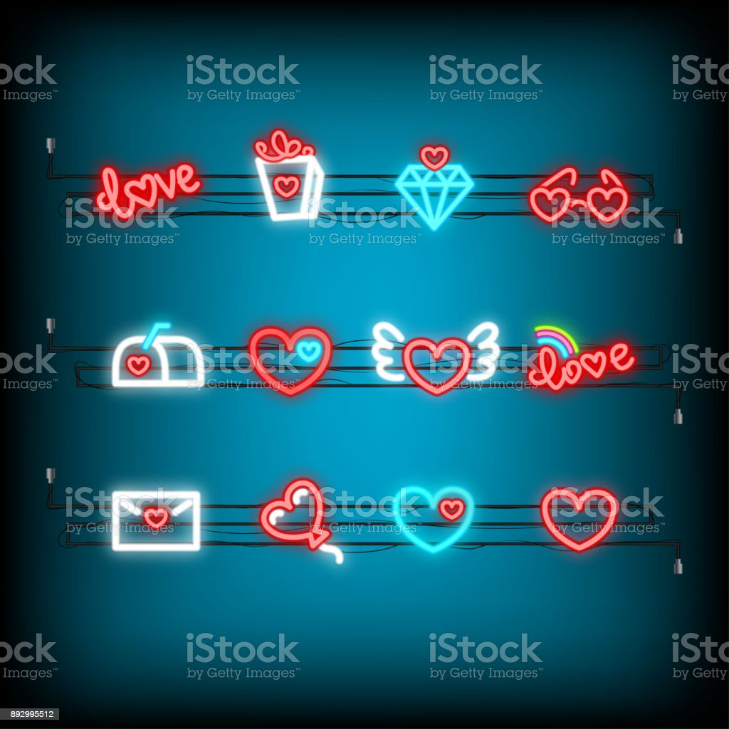 Neon Happy Valentines Day Set Icon Stock Vector Art More Images Of
