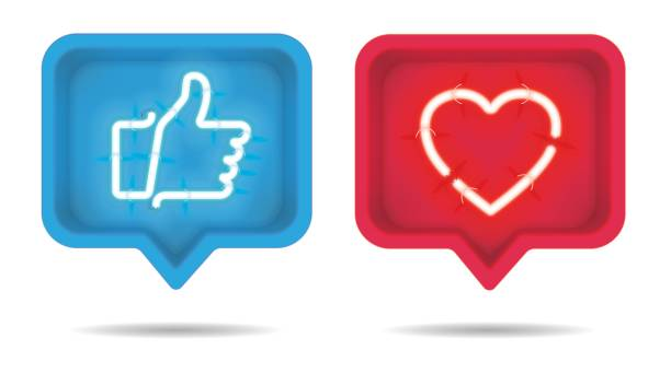 Neon heart and Thumb up, Like with on and off tubes in 3D speech bubble, vector illustration Neon heart and Thumb up, Like with on and off tubes in 3D speech bubble, vector illustration auto post production filter stock illustrations