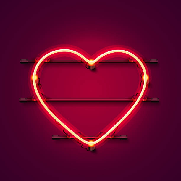 neon herz schild auf rotem hintergrund. - ferien  und feiertagssymbole stock-grafiken, -clipart, -cartoons und -symbole