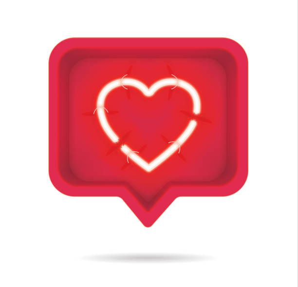 Neon hearts with on and off tubes in 3D speech bubble, vector illustration Neon hearts with on and off tubes in 3D speech bubble, vector illustration like button stock illustrations