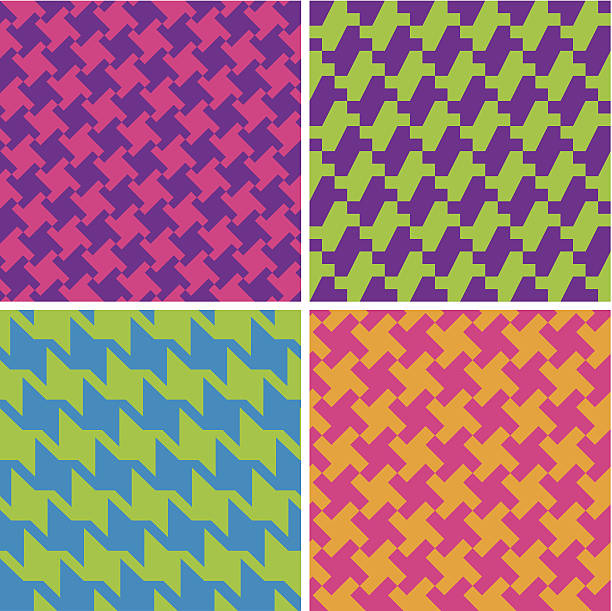 neon houndstooth patterns - preppy fashion stock illustrations, clip art, cartoons, & icons