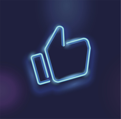 Neon icon like social network. Hand, big finger up on blue background. I like it!