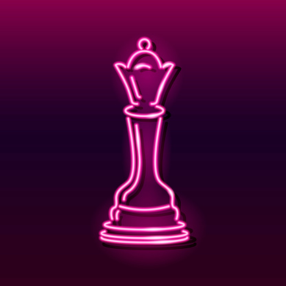 Neon icon of chess queen on dark gradient background. Board game, strategy, competition concept. Vector 10 EPS illustration.
