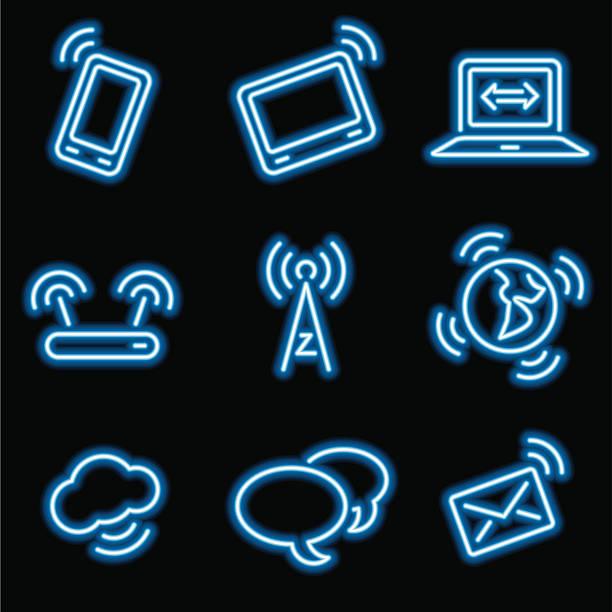 neon icons - communication vector art illustration