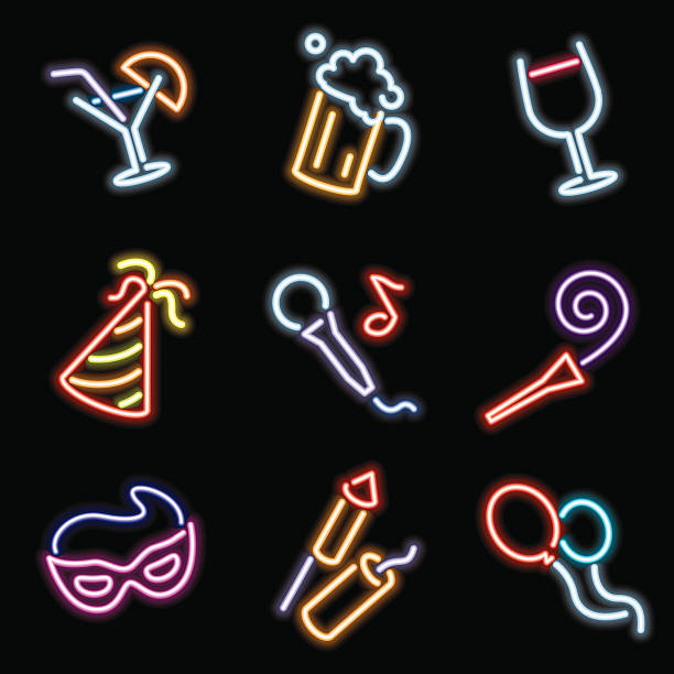 neon icons - party vector art illustration