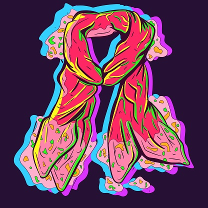 Neon illustration of a red and dirty scarf being wet. Elegant piece of clothing or material with the fabric folded.