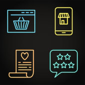 Neon internet commerce icon set in line style. Mobile shop, buying online, customer review and wishlist symbols. Vector illustration.