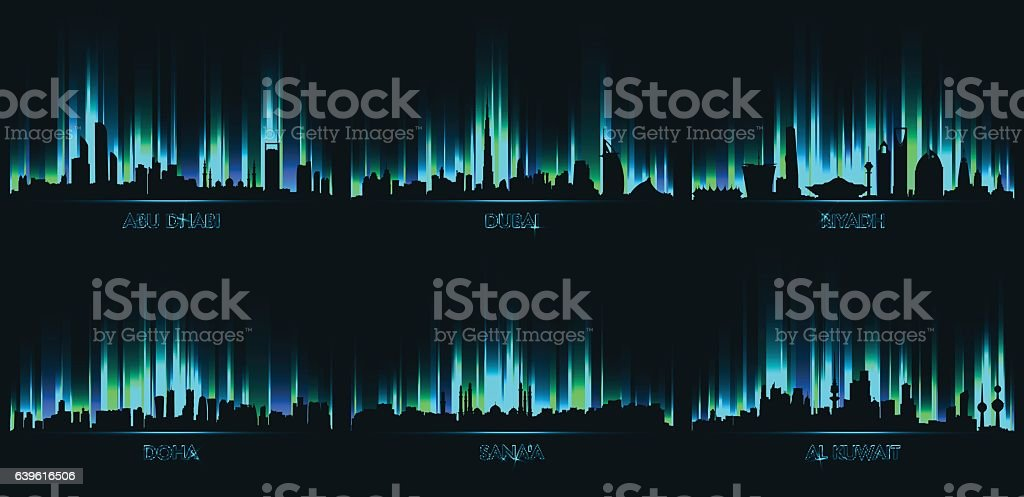 Neon сity skyline Abu Dhabi, Dubai, Riyadh vector art illustration
