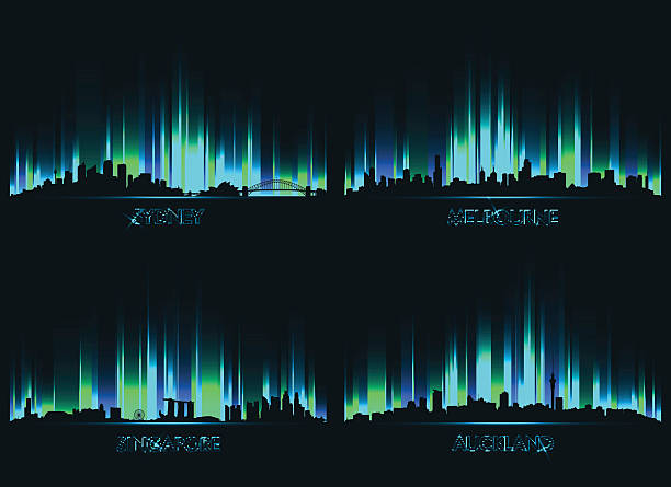 neon сity skyline sydney, melbourne, singapore and auckland - melbourne stock illustrations