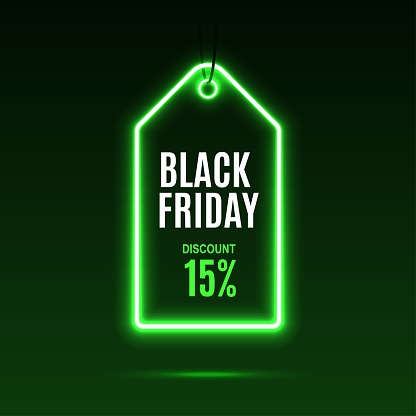 Neon label. Black friday at a discount.
