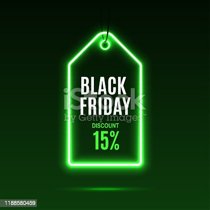 istock Neon label. Black friday at a discount. 1188580459