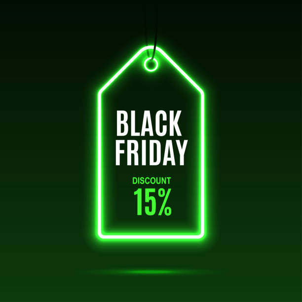 Neon label. Black friday at a discount. Neon label. Black friday at a discount. EPS10 vector. black friday sale neon stock illustrations