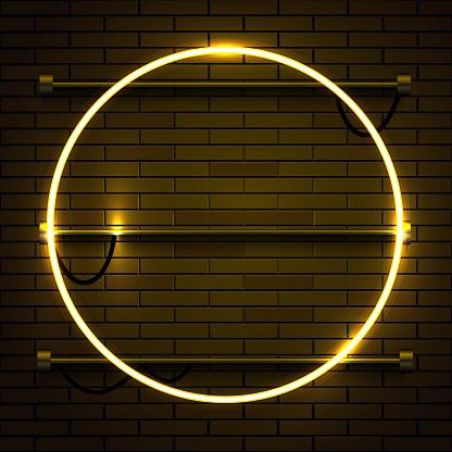 Neon lamp circle frame on brick wall background. Las Vegas concept.
