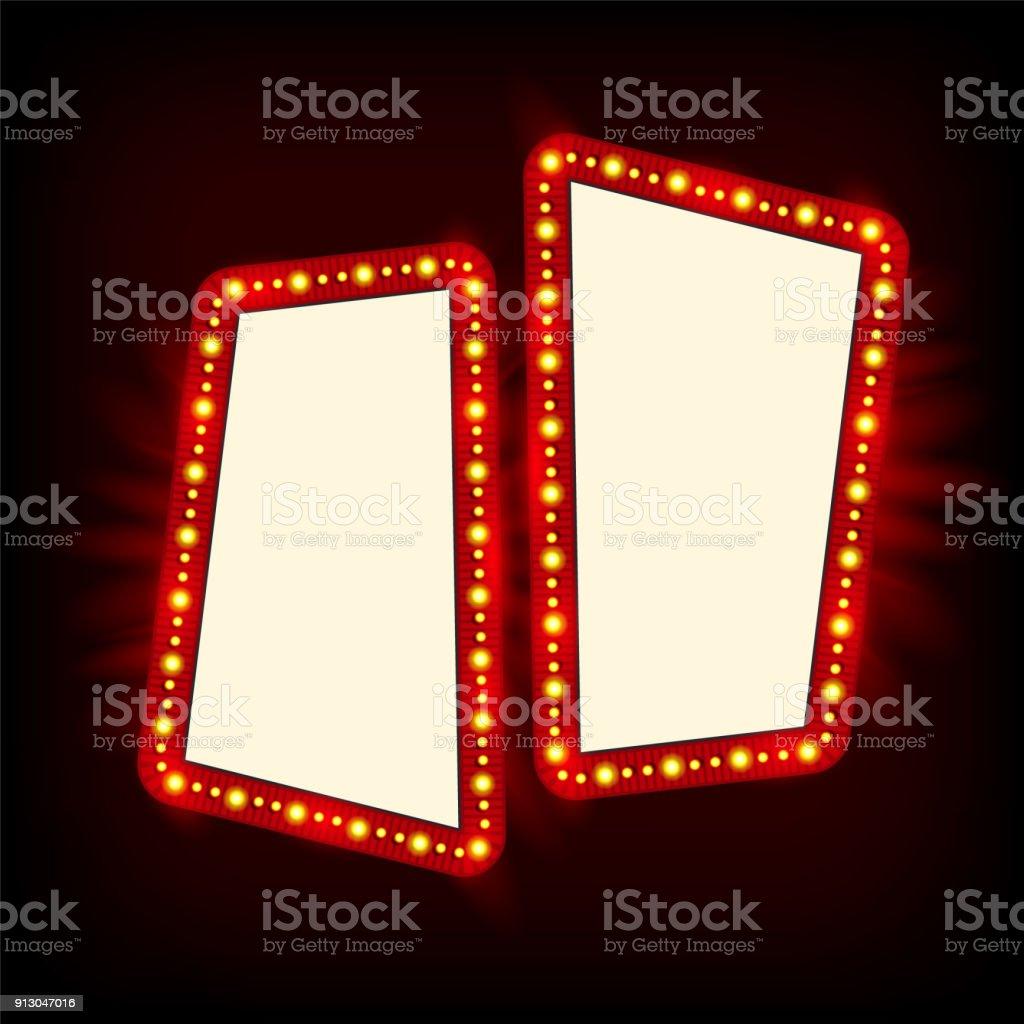 Neon Lamps Billboard. Cinema And Theater Signage Royalty Free Neon Lamps  Billboard Cinema And