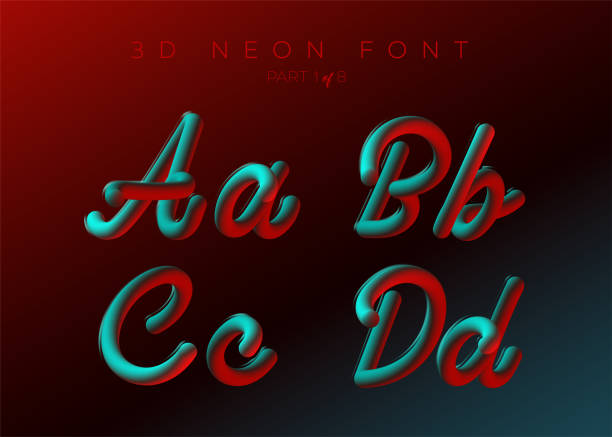 3D Neon Led fuente. Líquido tipo redondo mate. Neón Bubble componer con letras pintadas. Tubo Letras dibujadas a mano. Tipografía para música cartel, Banner de venta, publicidad. Multicoloras colores ULTRAVIOLETA. - ilustración de arte vectorial