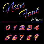3D Neon Led Font. Liquid Matte Rounded Type. Tube Hand-Drawn Lettering. Multicolor Ultraviolet Colors. 3D render of bubble font with glint