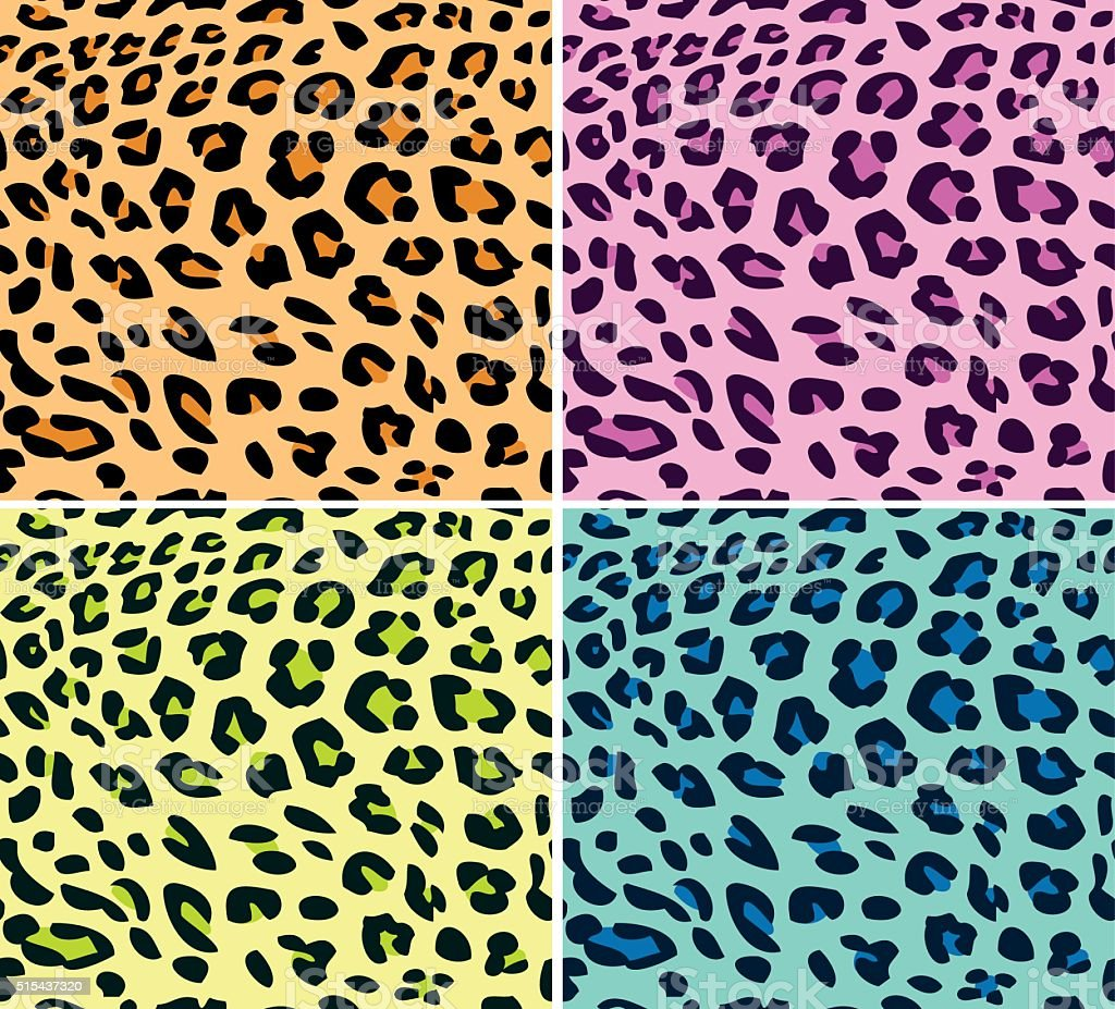 Neon leopard patterns vector art illustration